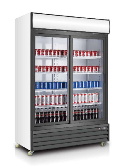 with Ce, CB RoHS, Meps 1200liter Double Door Cooler Supermarket Beverage Refrigerator pictures & photos