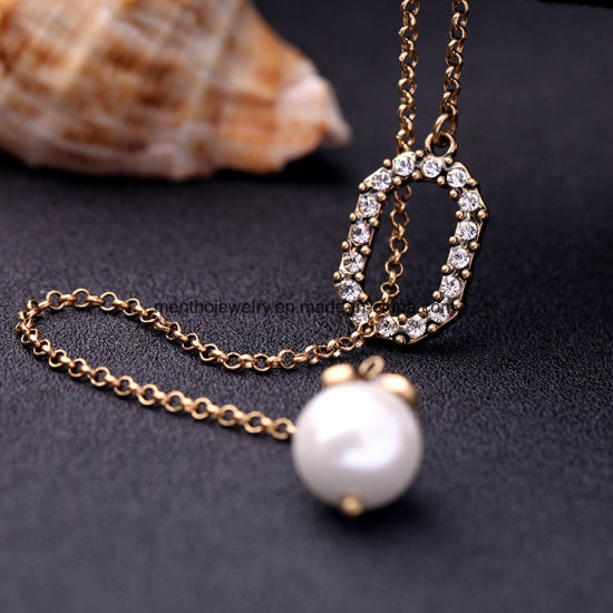 European and American Retro Simple Inlaid Rhinestone Adjustable Necklace Pearl Pendant pictures & photos