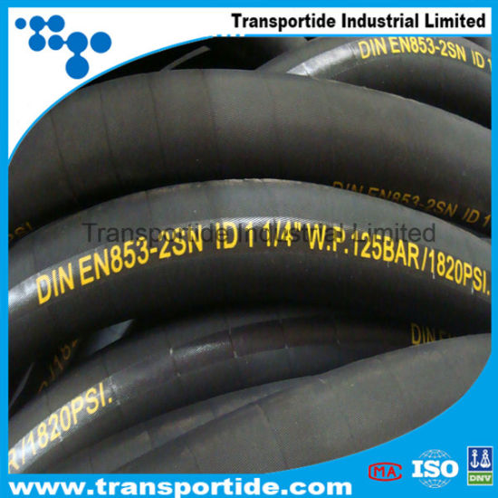 Factory SAE100 R1/1sn R2/2sn Flexible Industrial Hose/High Pressure Hydraulic Rubber Hoses pictures & photos