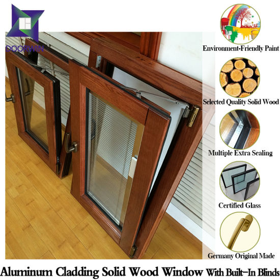 Middle East Palace Solid Oak Wood Aluminum Tilt/Turn Window with Buit-in Blinds/Shutter Remote Controlled pictures & photos