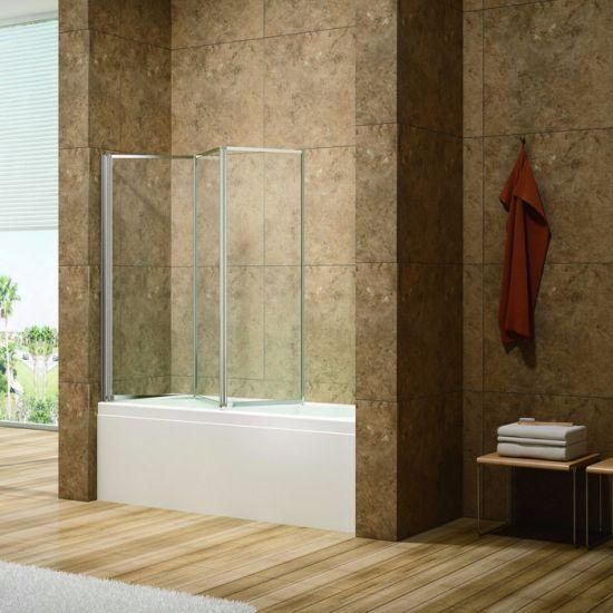 China 4mm Tempered Glass 3 Folding Whole Al Frame Bathtub Tub Shower ...