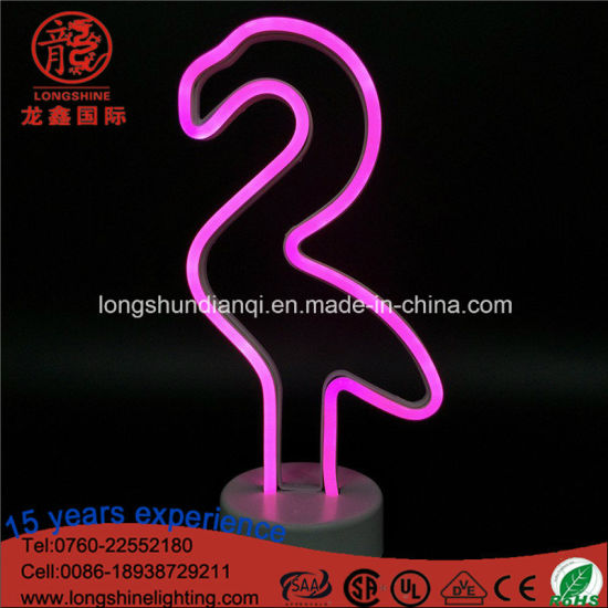 China Led 12 6 Battery Operated Pink Flamingo Neon Sign Table Light