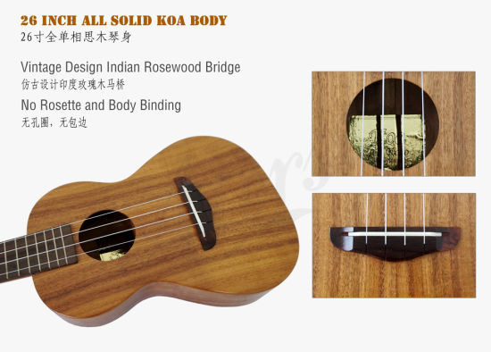All Solid Master Grade Koa Ukulele with Half Gloss pictures & photos