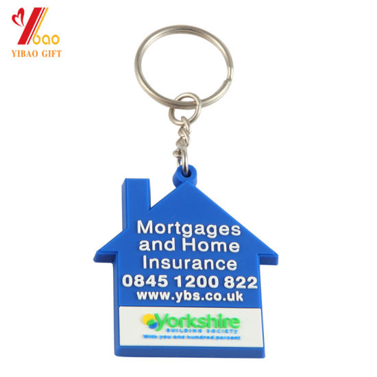 Soft PVC Keychain Rubber Key Chain with Printing Logo Custom Design Plastic PVC and Metal Coin Holder Keychain