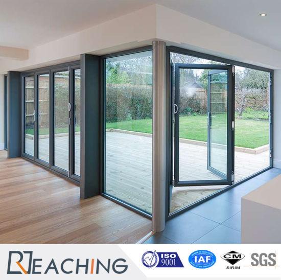 Double Glazing Exterior Interior Bi-Folding 5 Panel Sliding Door & China Double Glazing Exterior Interior Bi-Folding 5 Panel Sliding ...