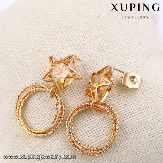 91536 2017 Jewelry Newest Fashion Luxury Eye Tear Gold Eardrop with Synthetic CZ pictures & photos