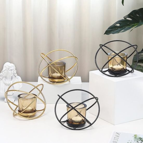 Wholesale Luxurioustabletop Display Glass Candle Holder with Metal Rack for Home Decoration