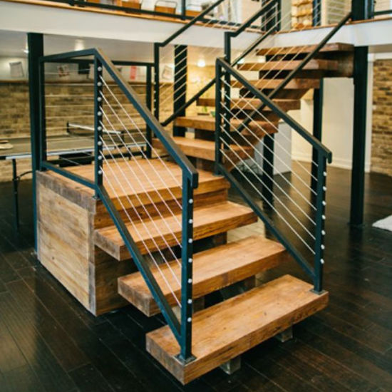 Ordinaire Residential Indoor Wood Staircase Stainless Steel Cable Railing