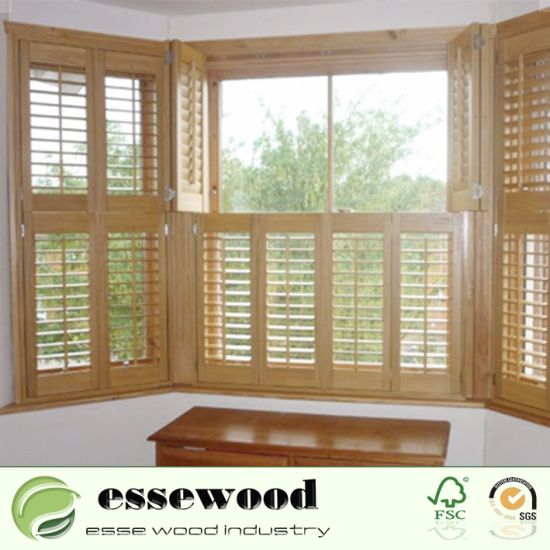 China White Decorative Wood Plantation Shutters For Bedroom And