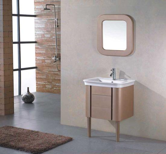 Ceramic Basin Pvc Bathroom Cabinet With Mirror