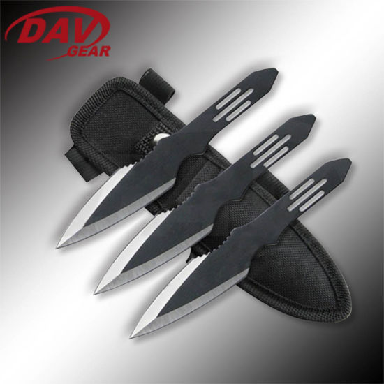 "6""Stainless Steel Black Coated Blade and Handle Overall Throwing Knife for Outdoor and Self-Denfense 3CS Set"