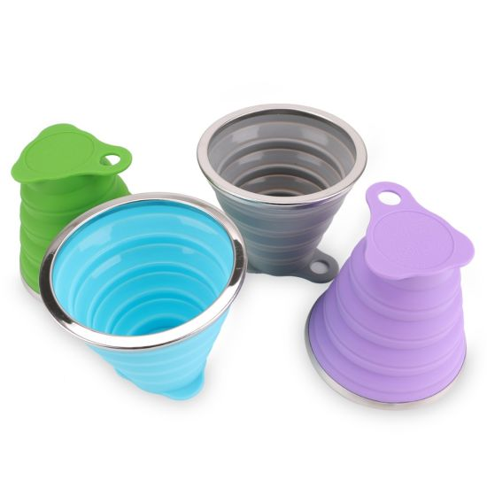 FDA Approved Silicone Camping Mug Collapsible Folding Travel Cups
