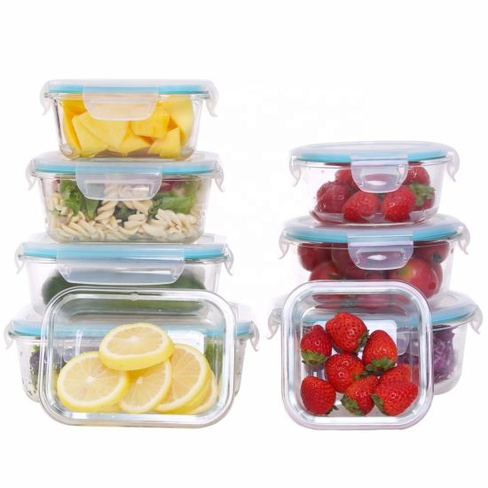 Food Container Microwave Takeaway Storage Airtight Glass Lunch Box with Compartments