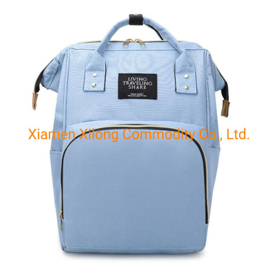 Customs Large Capacity Fashion Tote Waterproof Oxford Diaper Backpack Multi-Function Mommy Bag Baby Diaper Hiking Backpack Light Blue