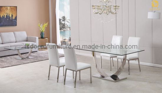 Dining Room Furniture Stainless Steel, Glass Top Dining Room Table