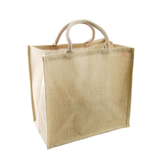 100% Advertising Jute Hemp Shopping Bag with Custom Logo Printing