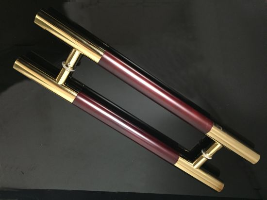 Gloden Color Wooden Tube H Glass Door Hinge Pull Handle pictures & photos