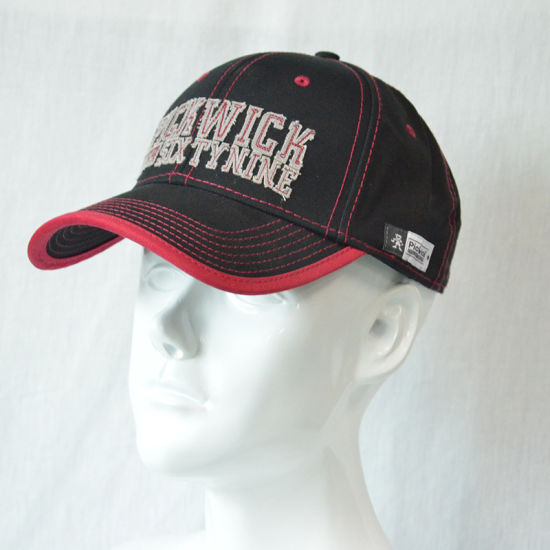 Custom Black Red Cotton Sports Baseball Cap with 3D Embroidered Logo pictures & photos