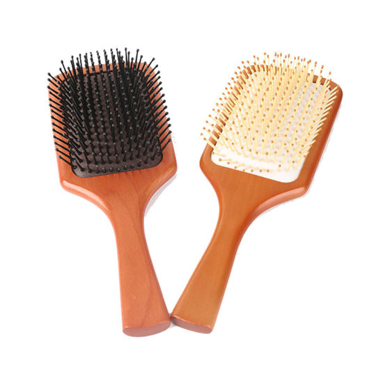Large Square Paddle Bamboo Wooden Brush, Natural Ionic Detangling Wooden Hair Brush