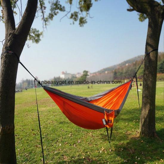 Single & Double Camping Hammock with Hammock Tree Straps, Portable Parachute Nylon Hammock for Backpacking Travel Esg10104