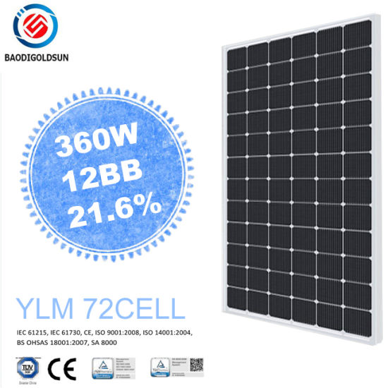 Online Shopping Yingli BS OHSAS Ylm 12bb Mbb 72 Cell 360W Mono Monocrystalline Solar Panel for Mobile Charger with Best PV Supplier in Kampuchea pictures & photos