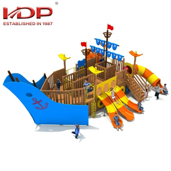China Children Wooden Pirate Ship Series Theme Outdoor Playground