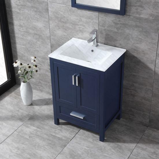 China Modern Solid Wood 24 Bathroom Vanity Navy Blue Finishing
