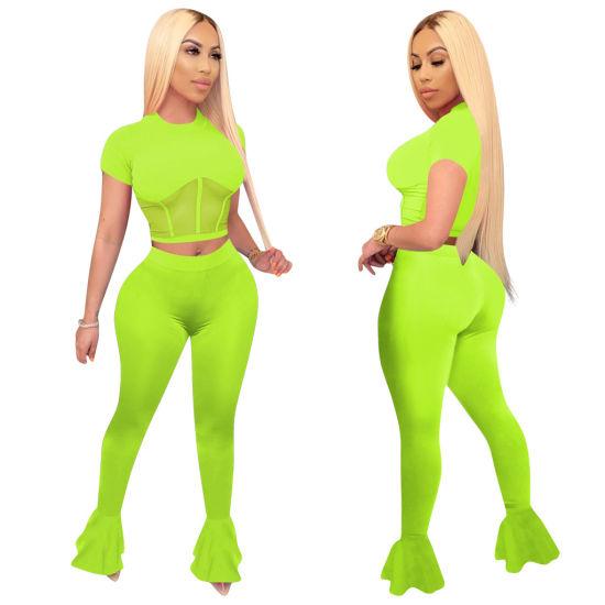 Women Clothing Plain Blank Mesh Net Patchwork Crop Top Tracksuit Outfit Two Piece Outfit 2 Piece Short Set