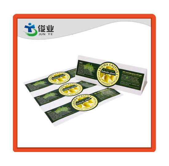 Elegant Color and Design Cosmetic Bottle Paper Sticker/Roll Label