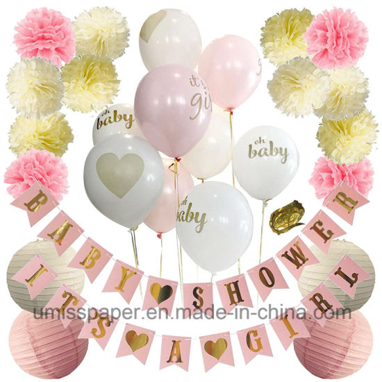 Umiss Paper Baby Shower Decorations Kit With Bunting Balloons Party Decoration