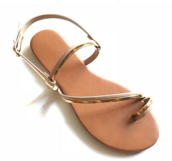New and Fashion PU Dress Flat Heel Sandal Lady Shoes