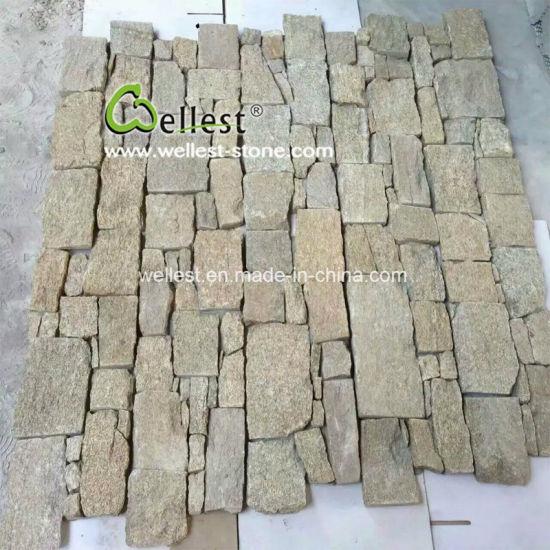 China Yellow Tiger Quartzite Cultured Stone Veneer Fireplaces