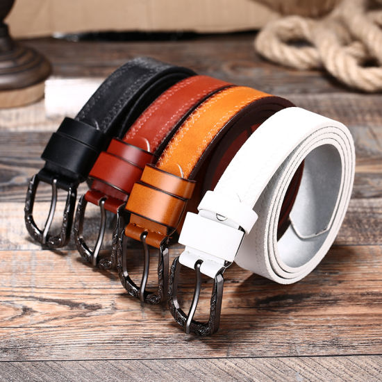 Factory Customized Printed PU Leather Belt with Roller Buckle for Lady pictures & photos