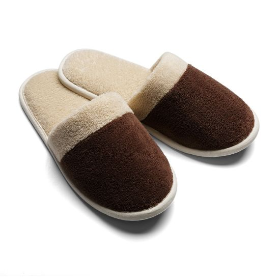 UK9.5 Size Brown Color Men's Fleece EVA Sole Disposable Hotel Slippers Bedroom Slipper to France