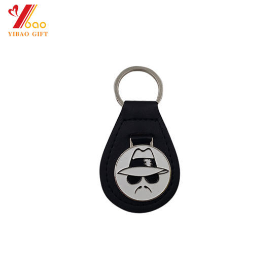 Wholesales High Quality Fashion Custom Logo PU Leather Keychain with Key Ring Accessories for Promotion Gift/Souvenir/Event