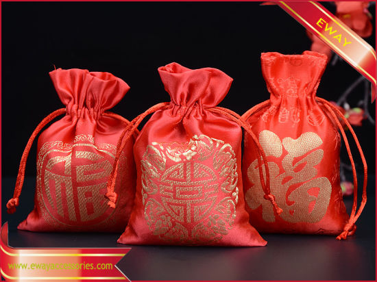 3737133e6d8a2 China Red Satin Drawstring Pouch Candy Packing Bag - China Velvet ...