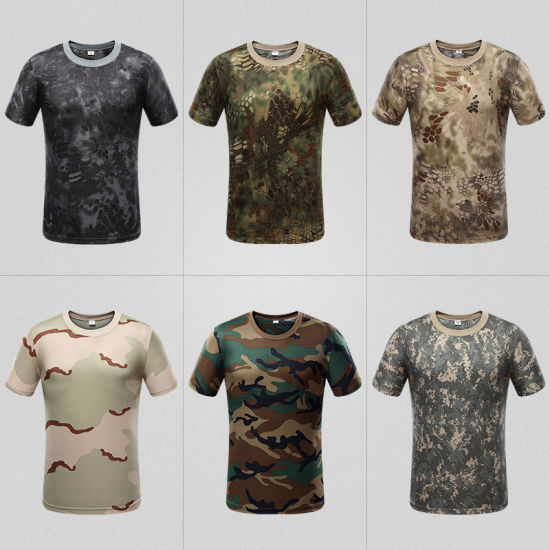 Outdoor Sports Camouflage Short Sleeves T-Shirts Breathable Quick Dry Hiking Camping Cycling Tees Camo T Shirt
