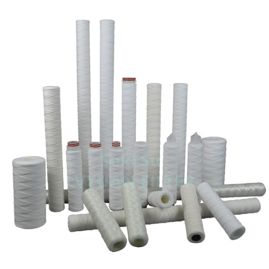 High Quality 1 5 Micron spiral PP Polypropylene String Wound Filter Cartridge for 10 20 30 40 Inch RO Water Juice Purification