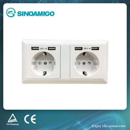 China Two Gang Duplex Schuko Socket