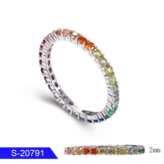 Wholesale Fashion Jewelry 925 Sterling Silver Multicolor CZ Stone Ring for Women pictures & photos