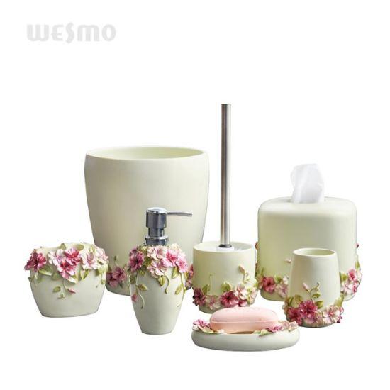 Fl Polyresin Bath Set China, Flower Bathroom Sets