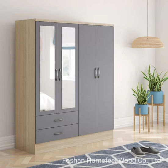 Modern Wooden MDF Apartment Closet Cabinet Furniture Bedroom Storage  Wardrobe (HF-WB14)