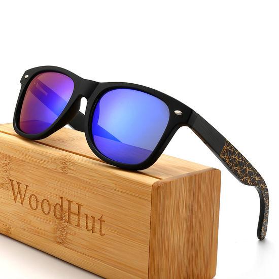 Wholesale OEM Unisex Custom Logo UV400 Tac Polarized Bamboo Wooden Sunglasses for Men