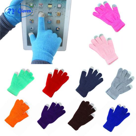 Women and Men Plain Knitting Acrylic Touch Screen Gloves Unisex Winter Keep Warm Gloves Cheap