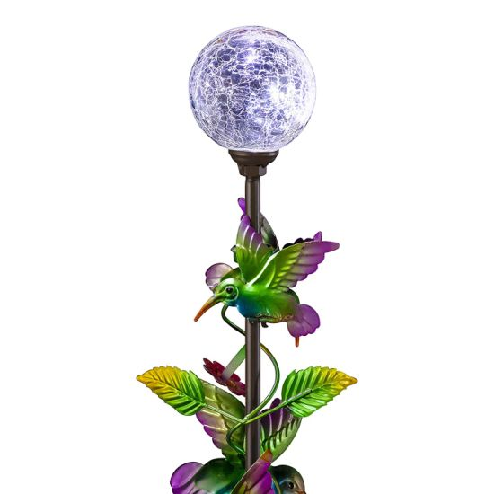 Ball And Metal Hummingbird Garden Stake