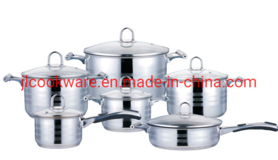 12 PCS Induction Compatible Stainless Steel Cookware Set