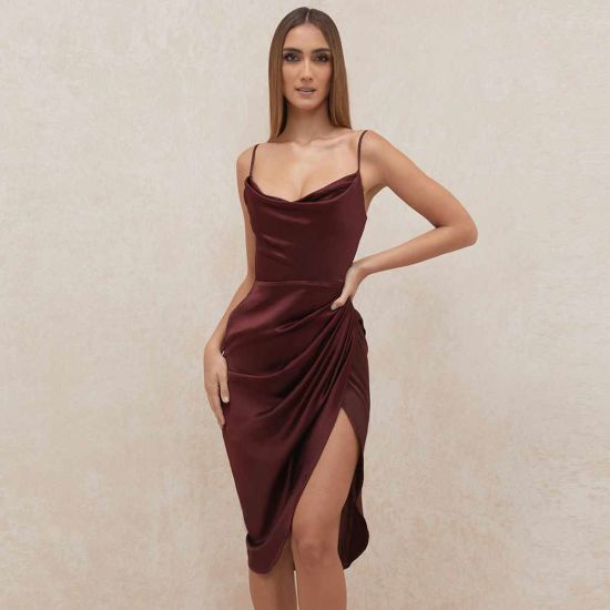 Hot Sale Split Sexy Sling Fish Bone Corset MIDI Dress for Women