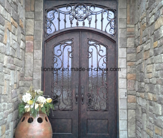 Forged Custom Exterior French Door Wrought Iron Double Entry Doors