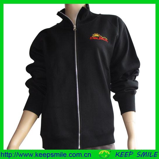 Custom Polyester Fleece Sweater Jacket with Chest EMB Logo