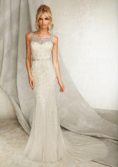 Beaded Net Sheath Style Wedding Dresses Wma042